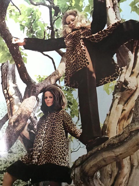 An advertisement for Leopard Skin coats featured in October Vogue, 1969